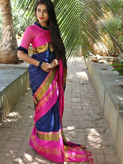 Blue Cotton Silk Saree with Extra Blose Piece - Rich Mayurica