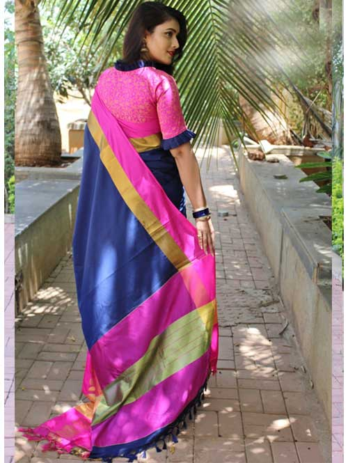 Blue Cotton Silk Saree with Extra Blose Piece - Rich Mayurica - buy online at dvanza.com