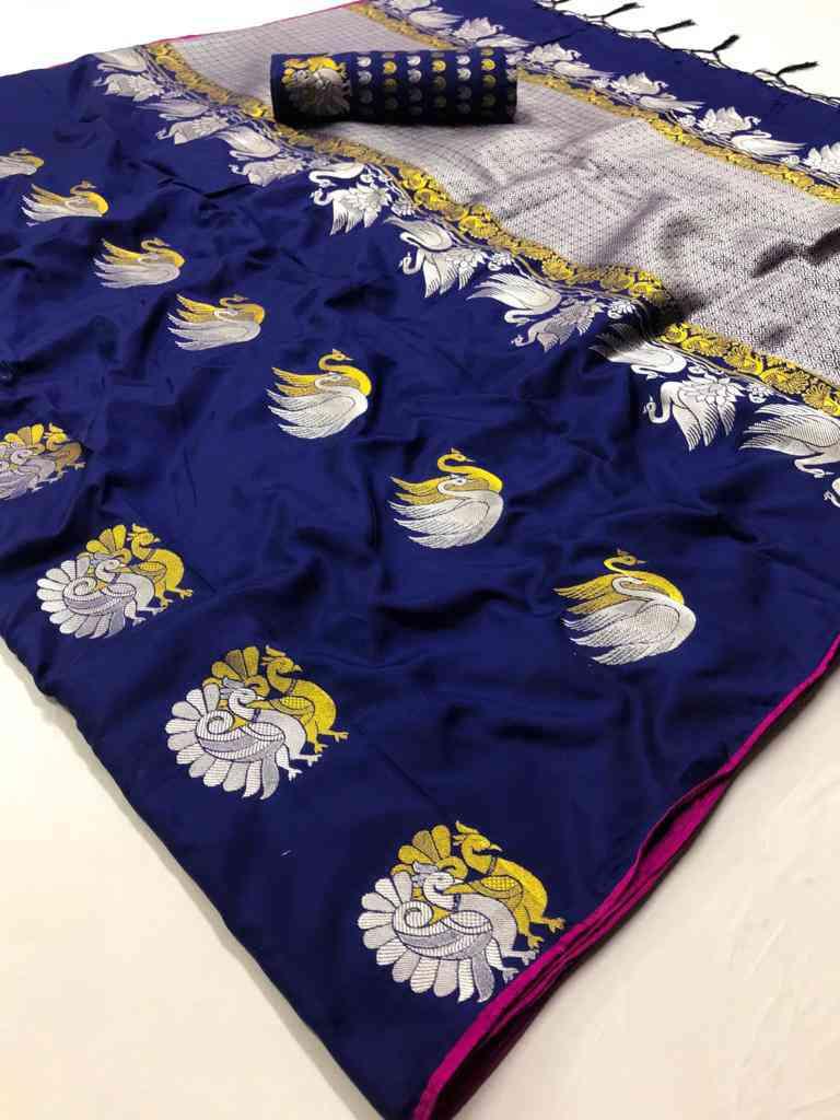 Blue Soft silk saree - soft silk sarees online shopping - dvz000002