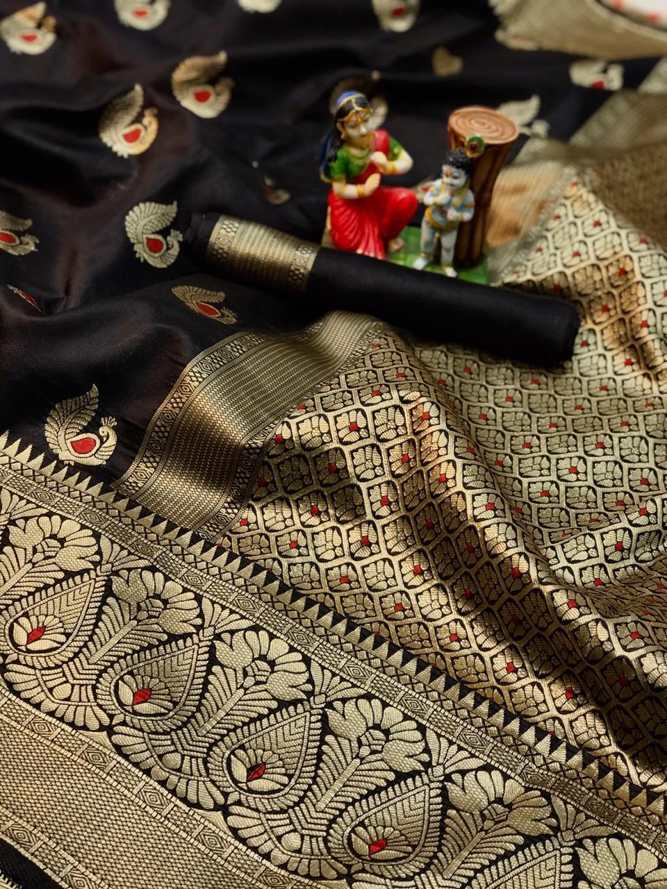 brown soft banarasi silk saree with weaving saree dvz0002004