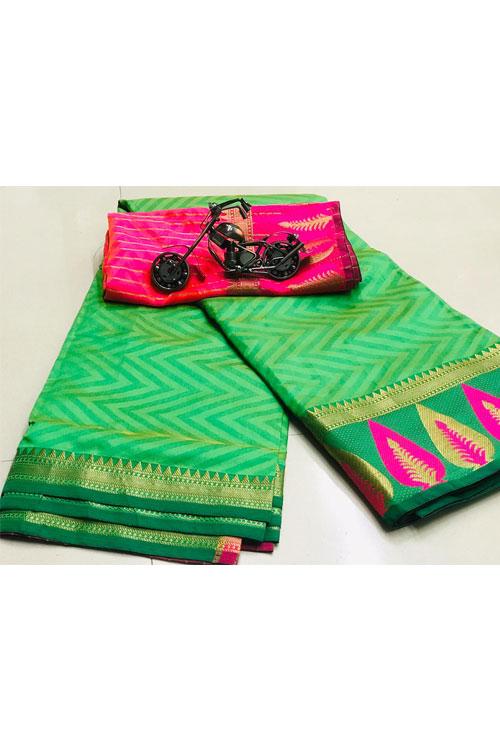 buy Green Soft Cotton saree with weaving border n weaving blouse dvz0001136