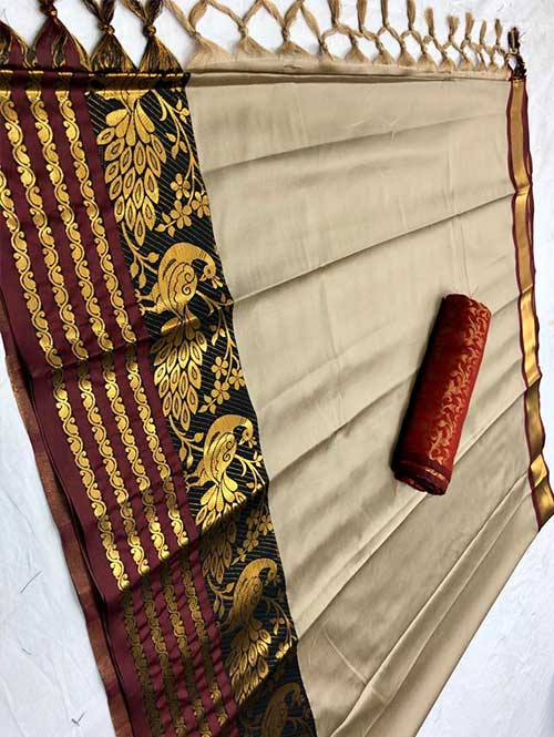 cream-colored-beautiful-branded-cotton-silk-saree-with-double-blouse-dvz000187 (2)