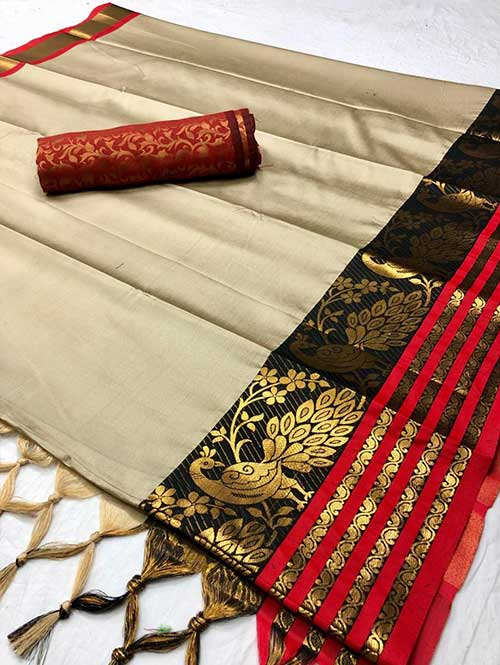 cream-colored-beautiful-branded-cotton-silk-saree-with-double-blouse-dvz000188 (2)