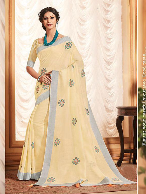 cream-colored-beautiful-embroidered-branded-linen-saree-dvz000157 (1)
