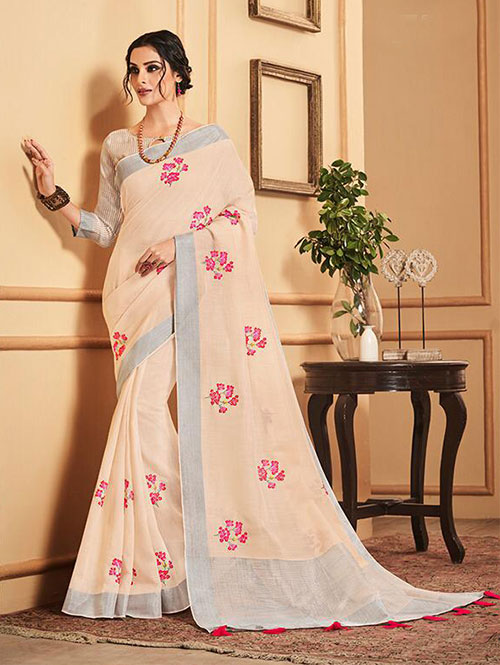 cream-colored-beautiful-embroidered-branded-linen-saree-dvz000161 (1)