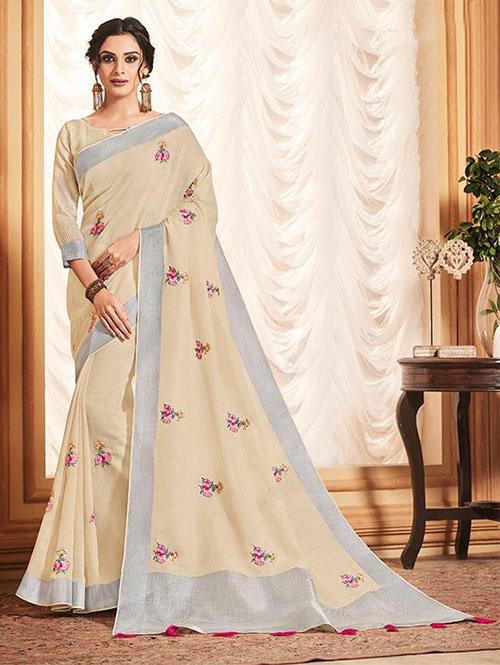 cream-colored-beautiful-embroidered-branded-linen-saree-dvz000163 (1)