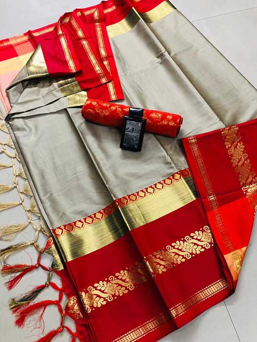 Cream Red cotton silk saree - silk sarees online - dvanza.com