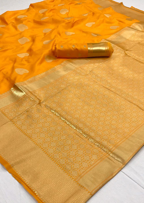dvanza present Yellow Soft silk indian sarees dvz000088