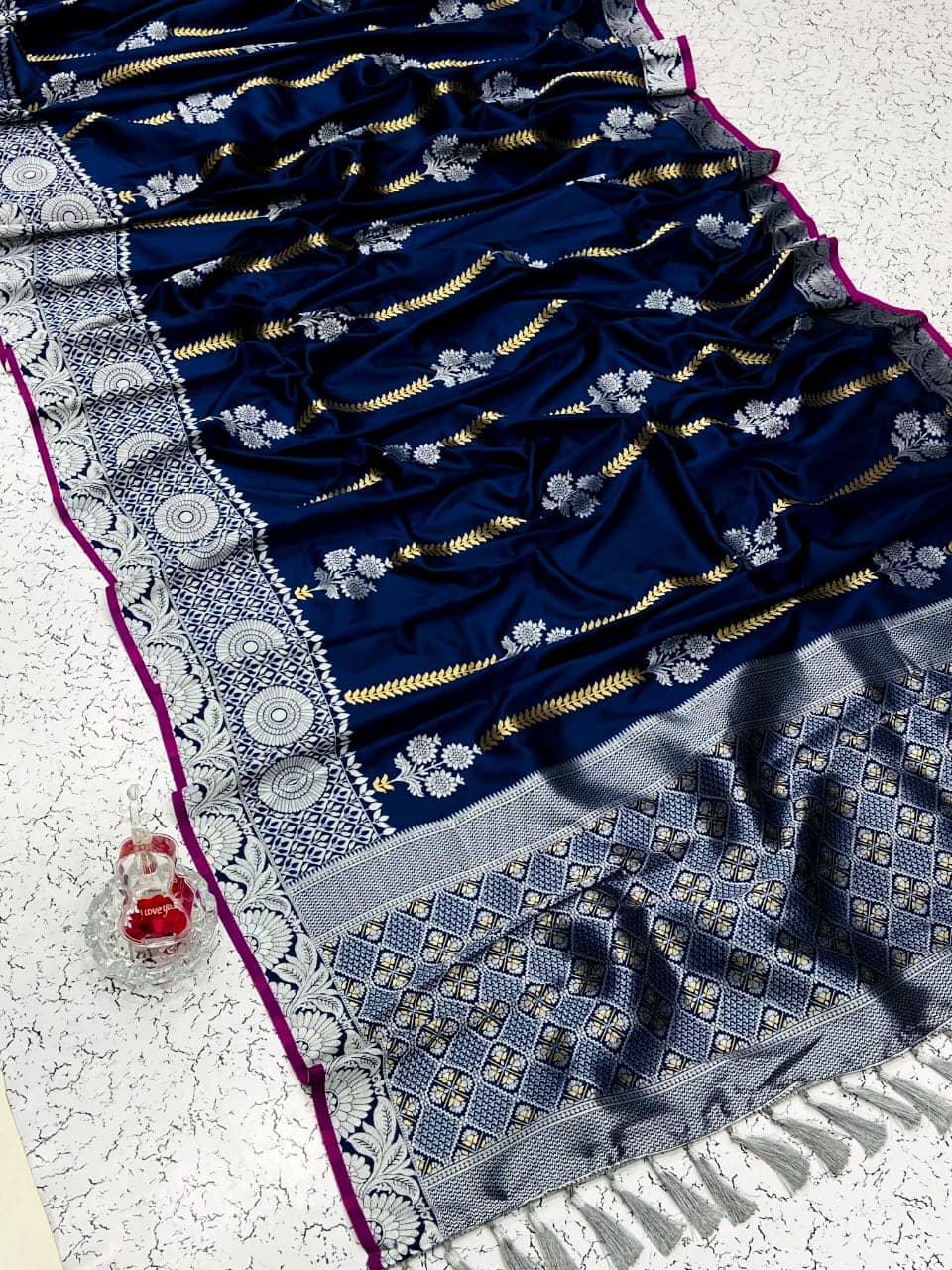 fancy Blue soft silk woven sun flower saree dvz0002160