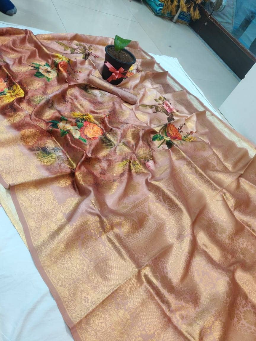 floral spanish digital print saree with zari border dvz0002098