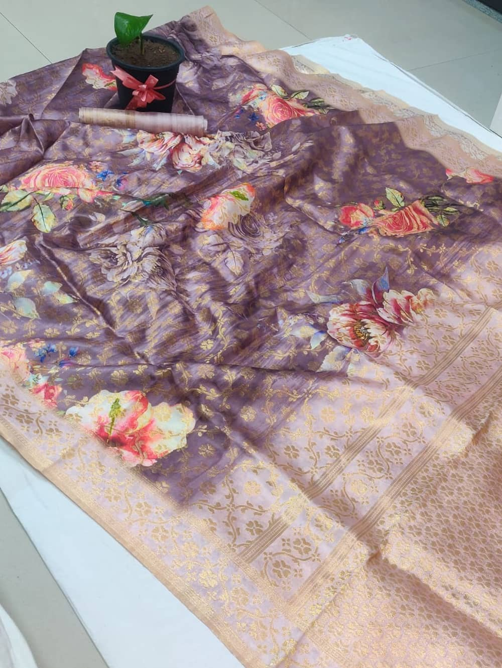 floral spanish digital print saree with zari border dvz0002099