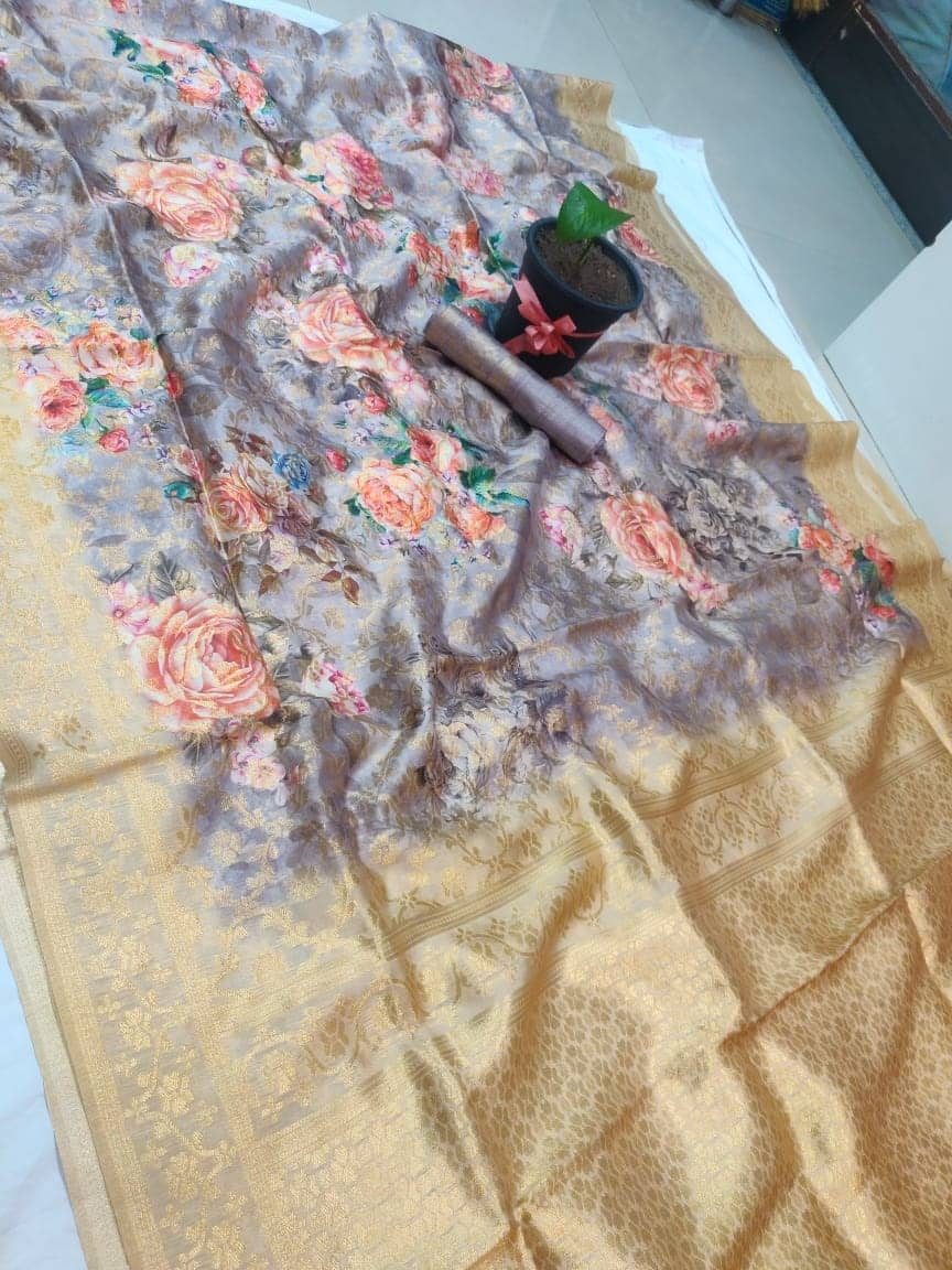 floral spanish digital print saree with zari border dvz0002103