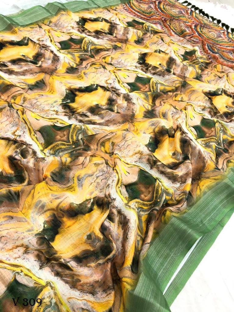 graceful Look Printed Linen Saree dvz0002532