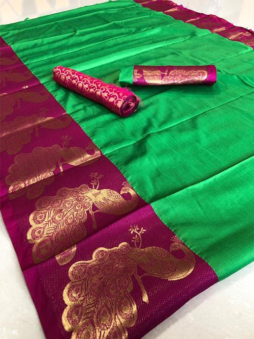 green-color-beautiful-cotton-silk-saree-dvz00046
