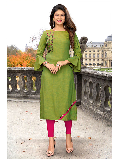 green-color-beautiful-embroidered-rayon-straight-kurti-dvz000219