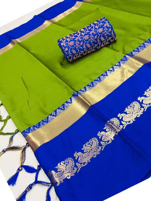 Green Cotton Silk Saree with Extra Blose Piece - Rich Mayurica