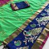 green-color-cotton-silk-embroidery-saree-dvz000125