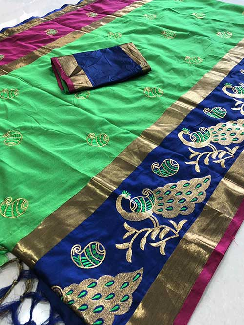 green-color-cotton-silk-embroidery-saree-dvz000125
