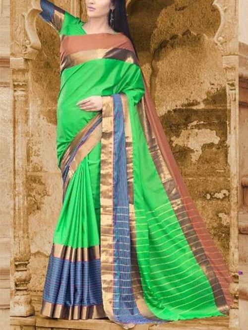 green-colored-beautiful-branded-cotton-silk-saree-prafulla-dvz000166 (2)