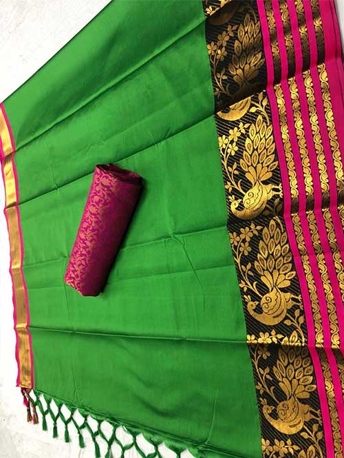 green-colored-beautiful-branded-cotton-silk-saree-with-double-blouse-dvz000189 (1)