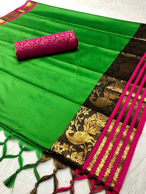 green-colored-beautiful-branded-cotton-silk-saree-with-double-blouse-dvz000189 (2)