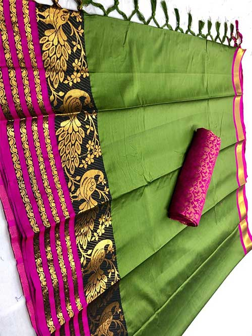 green-colored-beautiful-branded-cotton-silk-saree-with-double-blouse-dvz000190 (1)