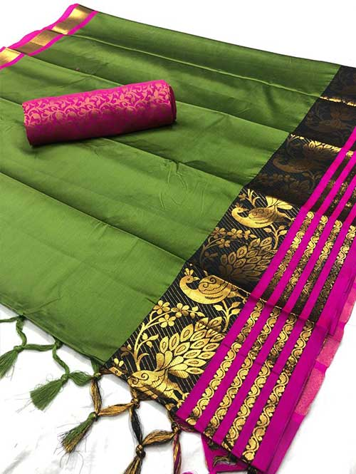 green-colored-beautiful-branded-cotton-silk-saree-with-double-blouse-dvz000190 (2)