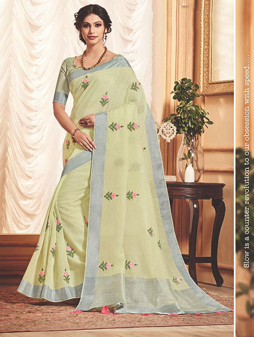 green-colored-beautiful-embroidered-branded-linen-saree-dvz000159 (3)