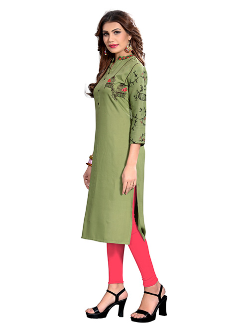 Green colored Printed & Embroidered Rayon Straight Kurti