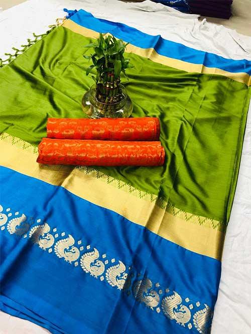 green-colored-cotton-silk-saree-dvz00028