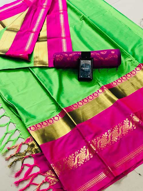 Green Pink cotton silk saree - silk sarees online - dvanza.com