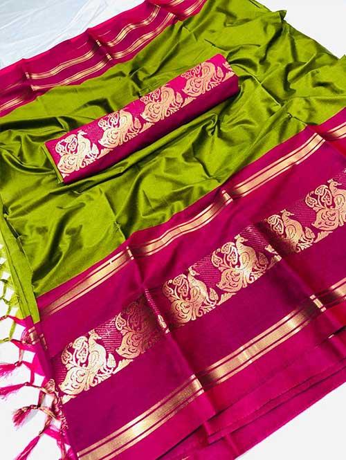 green-colored-cotton-silk-woven-saree-dvz000118