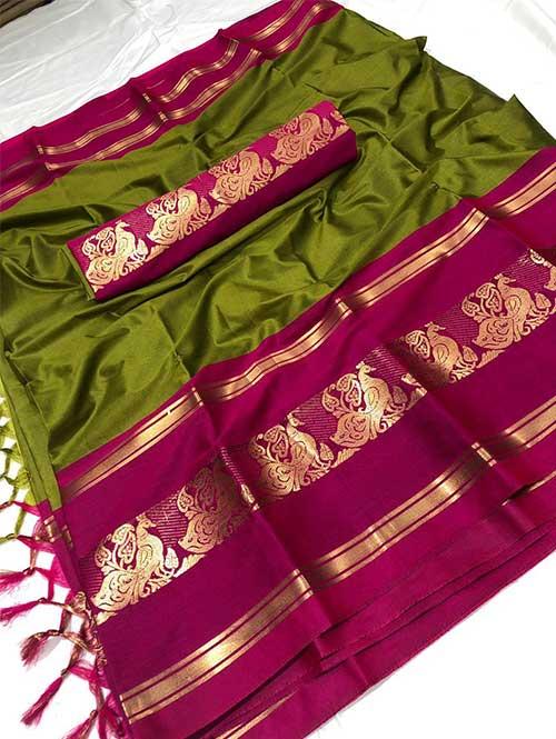 green-colored-cotton-silk-woven-saree-dvz000119