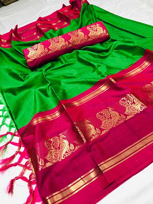 green-colored-cotton-silk-woven-saree-varnita-dvz000117