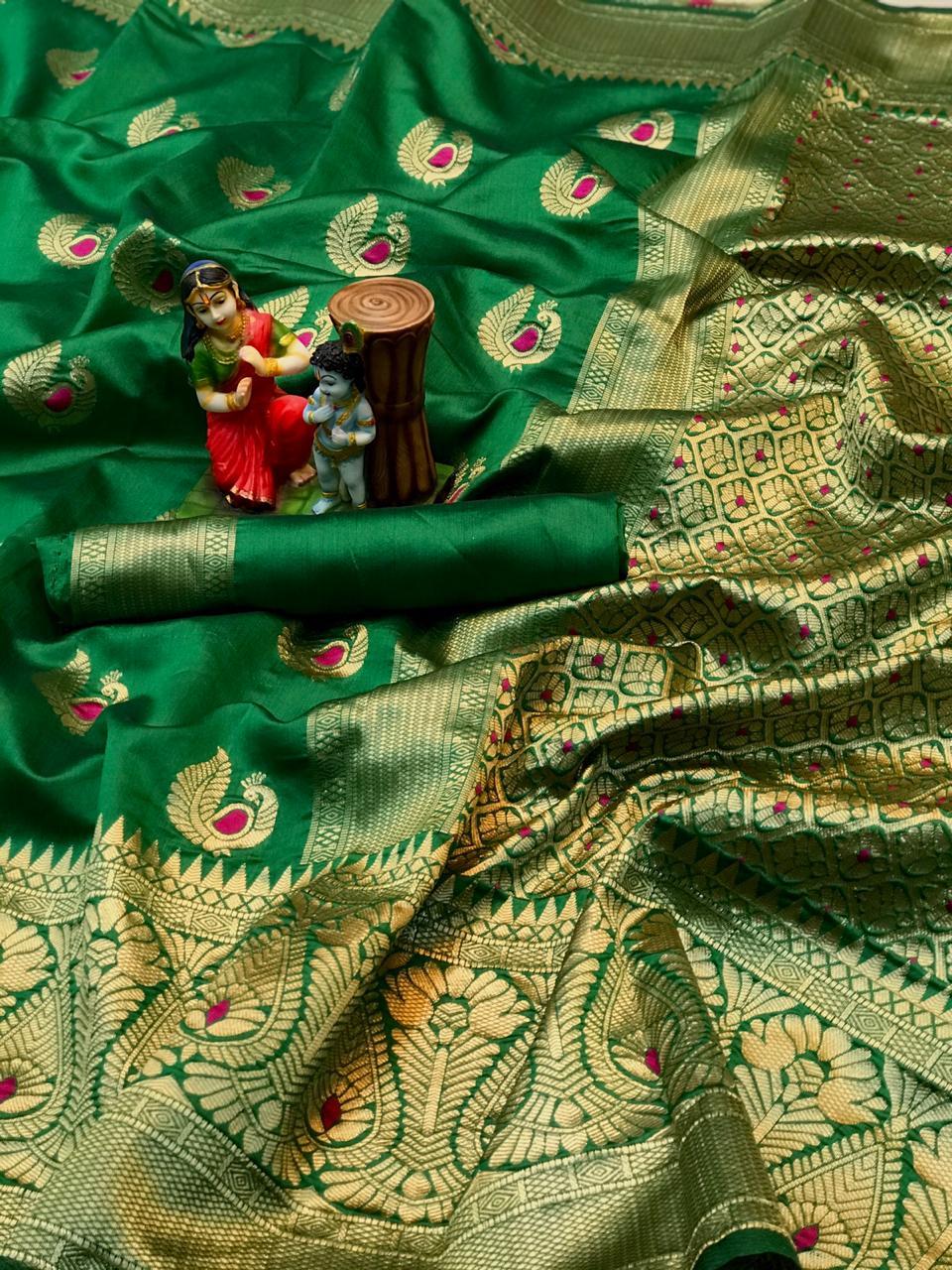 green soft banarasi silk saree with weaving saree dvz0002005