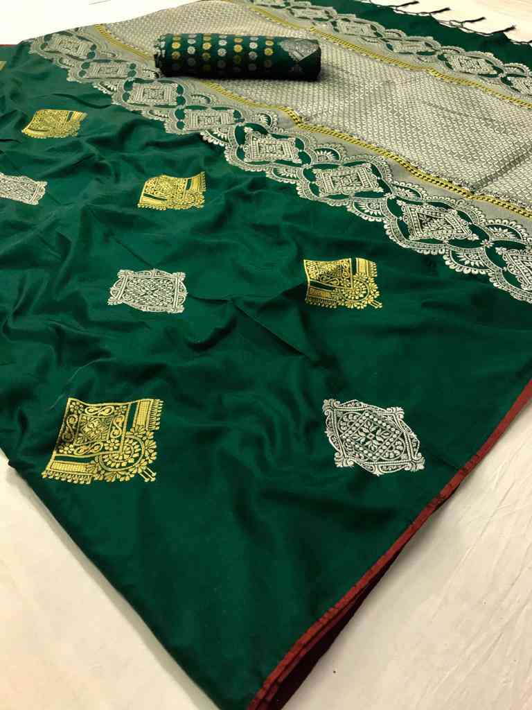 Green Soft silk saree - soft silk sarees online shopping - dvz000008