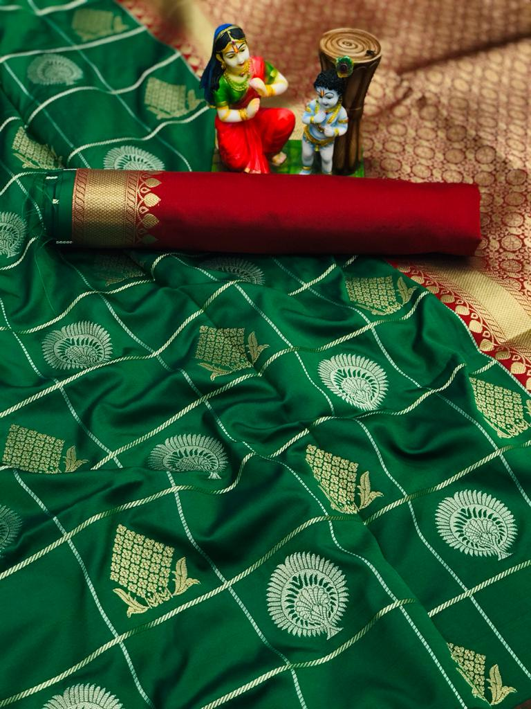 green soft silk with gold and silver zari weaving saree dvz0002032