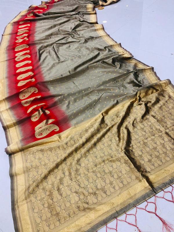 Fancy heavy Banarsi silk stylish Designer saree (Grey) dvz0001284