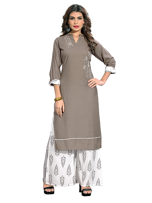 Grey and White colored Rayon Straight Kurti With Palazzo