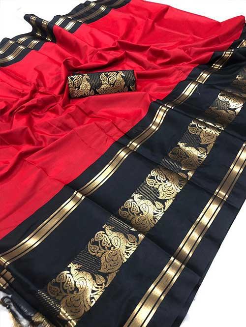 red-colored-cotton-silk-woven-saree-dvz000121