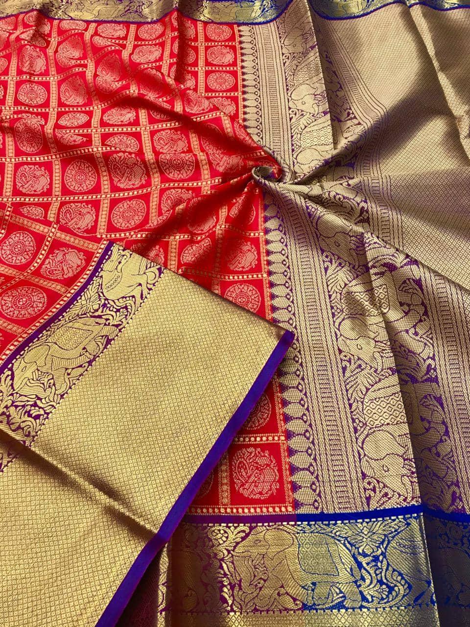 kanchipuram silk saree in Red dvz0001855
