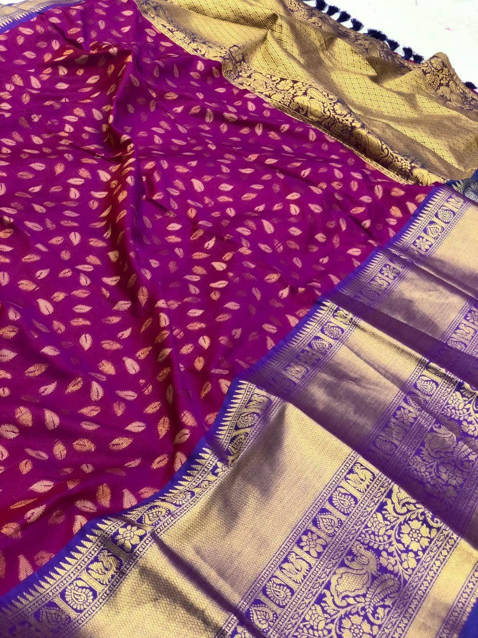 latest Purple kanchipuram silk saree dvz0002117
