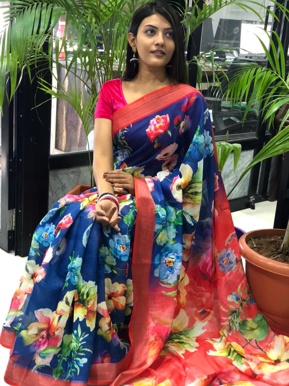 latest linen sarees with price dvz0001914