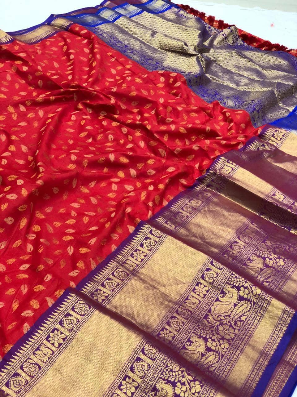 latest red kanchipuram silk saree dvz0002127