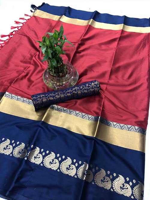 maroon-colored-cotton-silk-saree-dvz00029