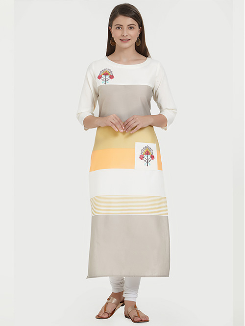 Multi Beautiful Embroidered Cotton Straight Kurti