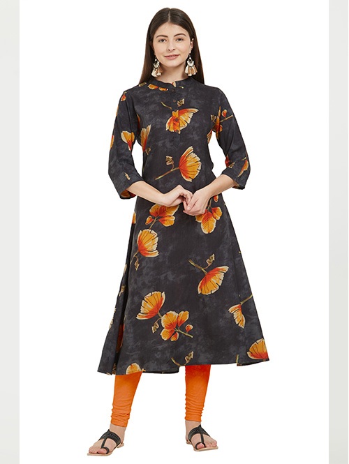 `multi-color-beautiful-printed-rayon-a-line kurti-dvz000232