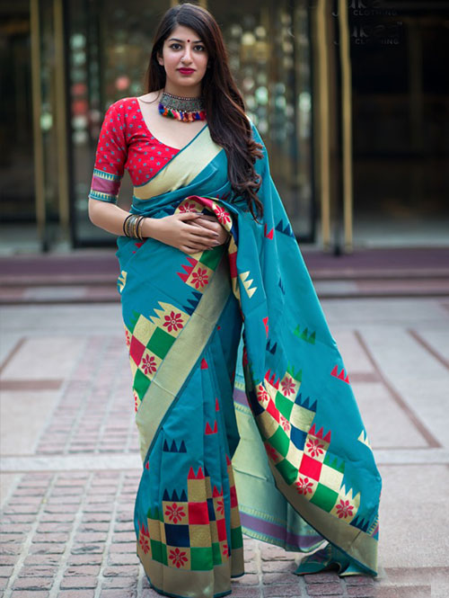 multi-colored-beautiful-branded-weaving-silk-saree-dvz000130 (1)
