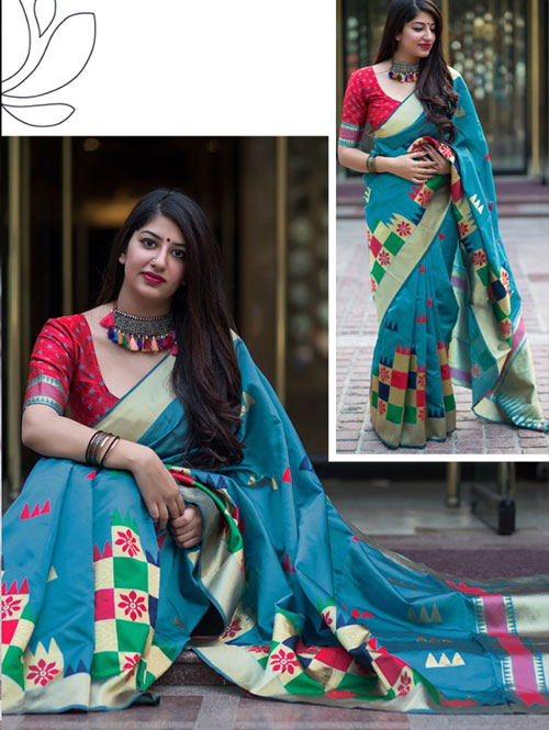 multi-colored-beautiful-branded-weaving-silk-saree-dvz000130 (2)