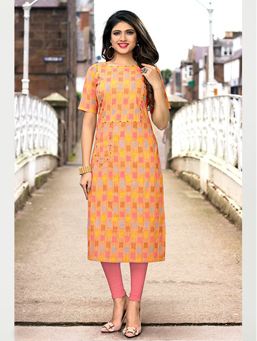 Multi colored Beautiful Printed Cotton Straight Kurti Online